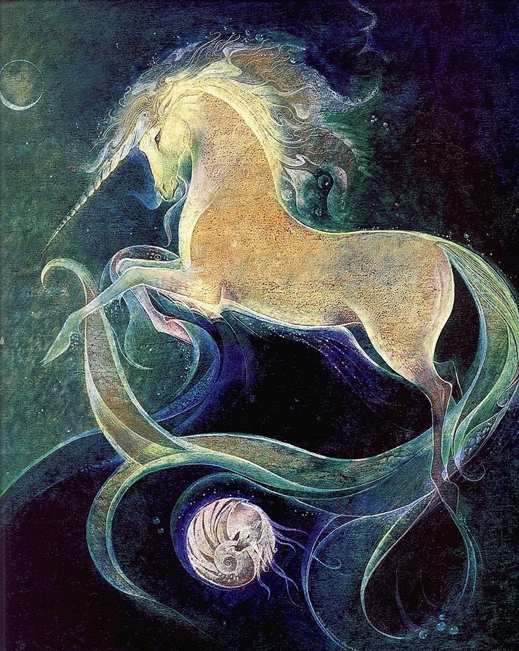 mystical white creature of the stars and the moon