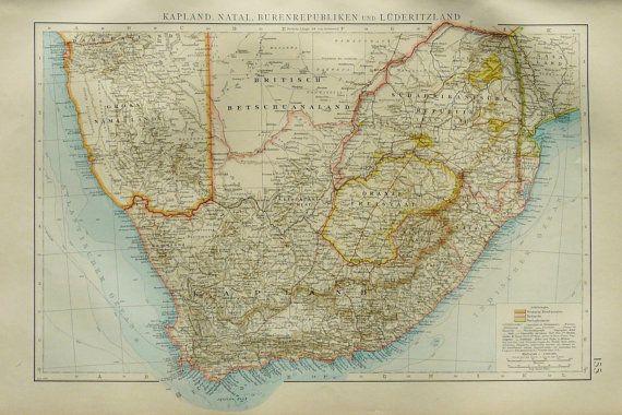 1899 Antike Karte von Südafrika. 114 Jahre alt Karte