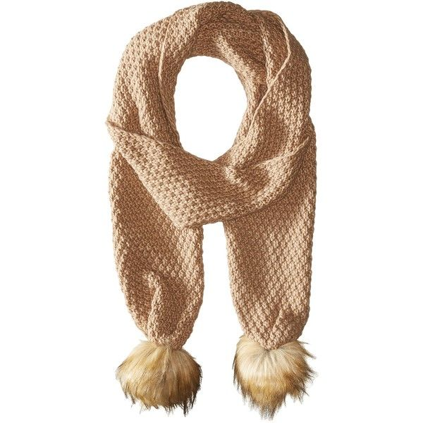 LAUREN Ralph Lauren Moss Stitch Scarf w/ Faux Fur Pom (Camel) Scarves ($30) ❤ liked on Polyvore featuring accessories, scarves, tan, oblong scarves, faux fur shawl, lauren ralph lauren, fake fur scarves and fake fur shawl