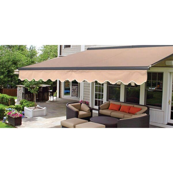 Outsmart The Weather With This Retractable Awning This Patio Awning Delivers The Perfect Amount Of Shade For Your P In 2020 Patio Design Deck Awnings Patio Sun Shades