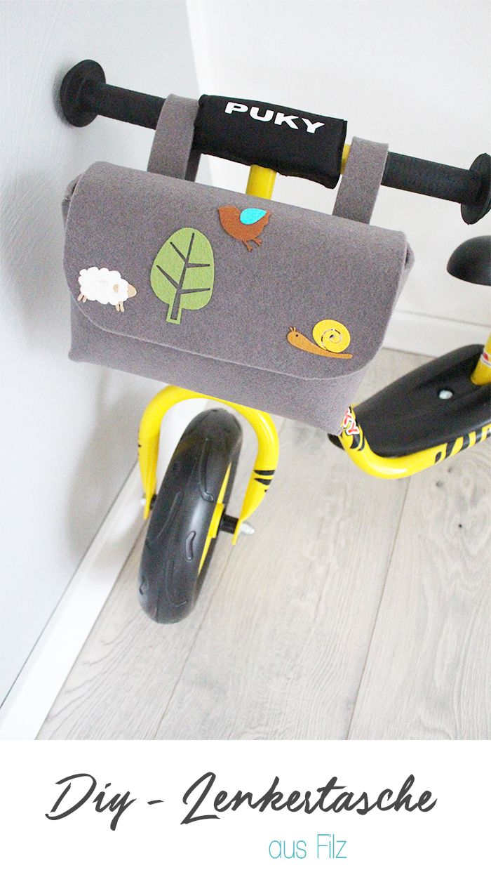 Dani von Gingered Things zeigt dir wie du ganz einfach aus Filz eine Lenkertasche für das Laufrad oder Fahrrad deiner Kinder nähen kannst.