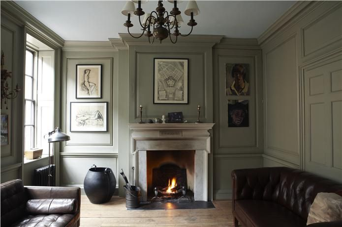 An inspirational image from Farrow and Ball - Lounge with walls in French Gray Estate Eggshell, trim in London Stone Estate Emulsion and ceiling in Blackened Estate Emulsion.
