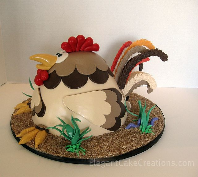 Rooster side by Elegant Cake Creations AZ, via Flickr