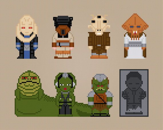 Jabbas Palace - Star Wars Movie Characters - Cross Stitch Pattern    This is a digital PDF file of a cross stitch pattern. You will need to