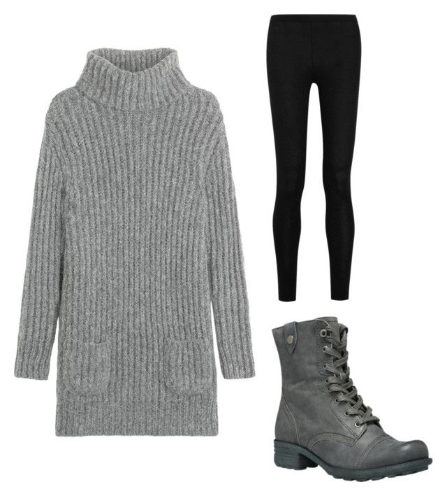 """""""Cute and Conservative Outfit/Sweater Dress, Tights, and Boots"""" by bluejay22 on Polyvore featuring TSE, Donna Karan and Cobb Hill"""