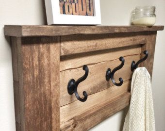 Rustic Wooden Entryway Walnut Coat Rack, Entryway Coat Rack Hooks, Rustic Home Decor, Furniture, Floating Wooden Shelf Storage, House Gift