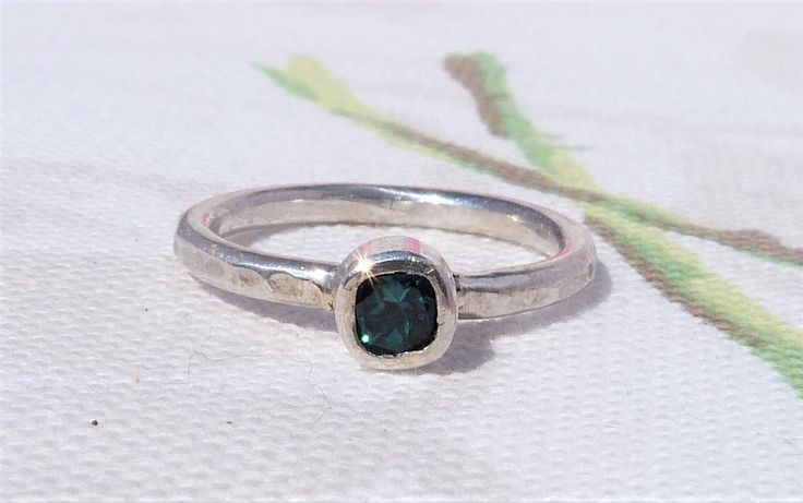 Sterling Silver Blue Tourmaline Solitaire RIng, Blue Ring, Solitaire Ring, Square shaped Ring, Blue Gemtone Ring, Boho RIng, Stacking RIng. by TSJewelleryDesigns on Etsy