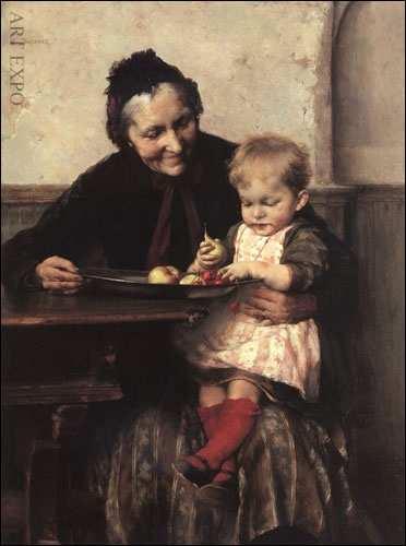 "'' Grandmother's darling'' by Georgios Iakovidis (1853 – 1932, Greek) . ""Η αγαπημένη της γιαγιάς"", Ιακωβίδης"