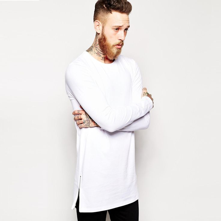 longline long sleeve t shirt extra length t shirt solid tall tee men tshirt with zipper to the hem free shipping top tees-in T-Shirts from Men's Clothing & Accessories on Aliexpress.com | Alibaba Group