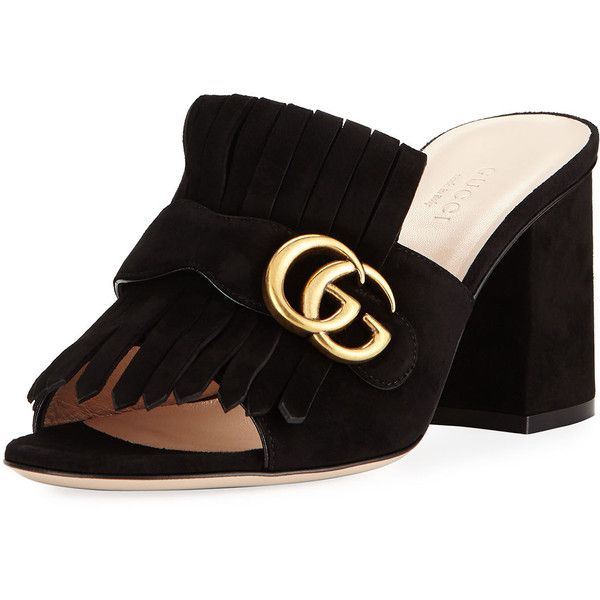 Gucci Marmont Suede Kiltie Mule Sandal ($549) ❤ liked on Polyvore featuring shoes, sandals, black, black suede shoes, gucci mules, black mules, buckle sandals and block heel mules