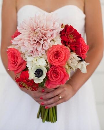 Dahlias, roses, zinnias, scabiosa pods, and anemones