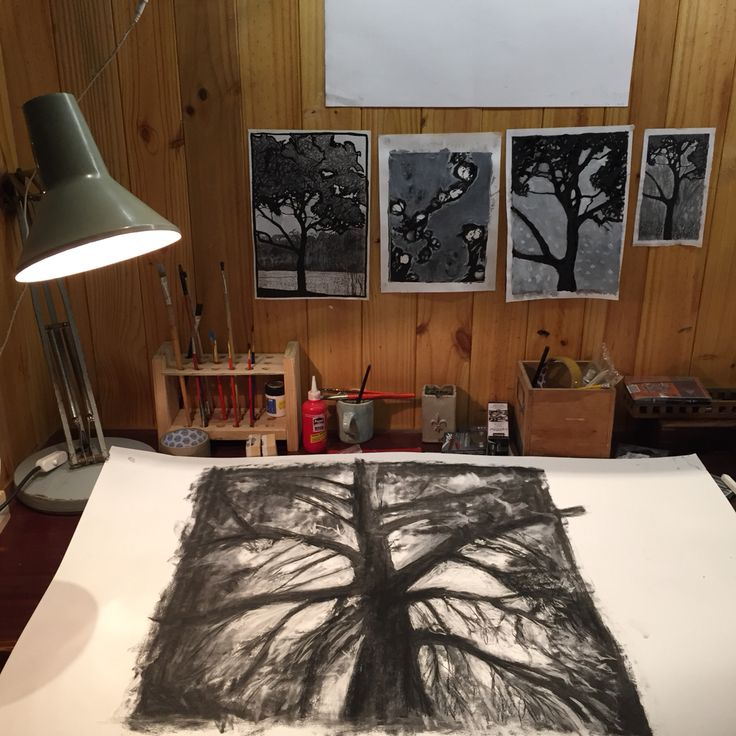 Studio space, working on Trees