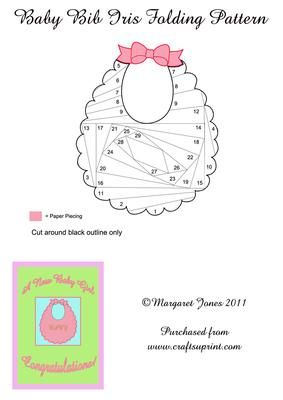Baby Bib Iris Folding Pattern on Craftsuprint designed by Margaret Jones - A cute pattern of a baby bib, to make a New Baby Congratulations card. Easy and quick to make. Bow is paper pieced. Make it in pink or blue to suit, or pastel yellow if you don't know yet.**For Silhouette owners, there is a cutting file for this pattern, you can find it at cup257157_601 - Now available for download!