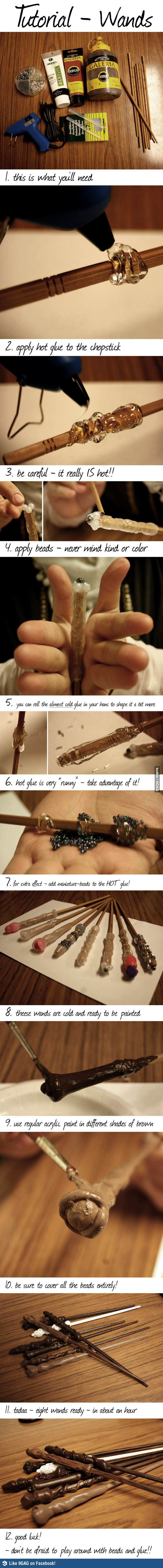 This is probably how Ollivanders at Diagon Alley do it... i need s glue gun