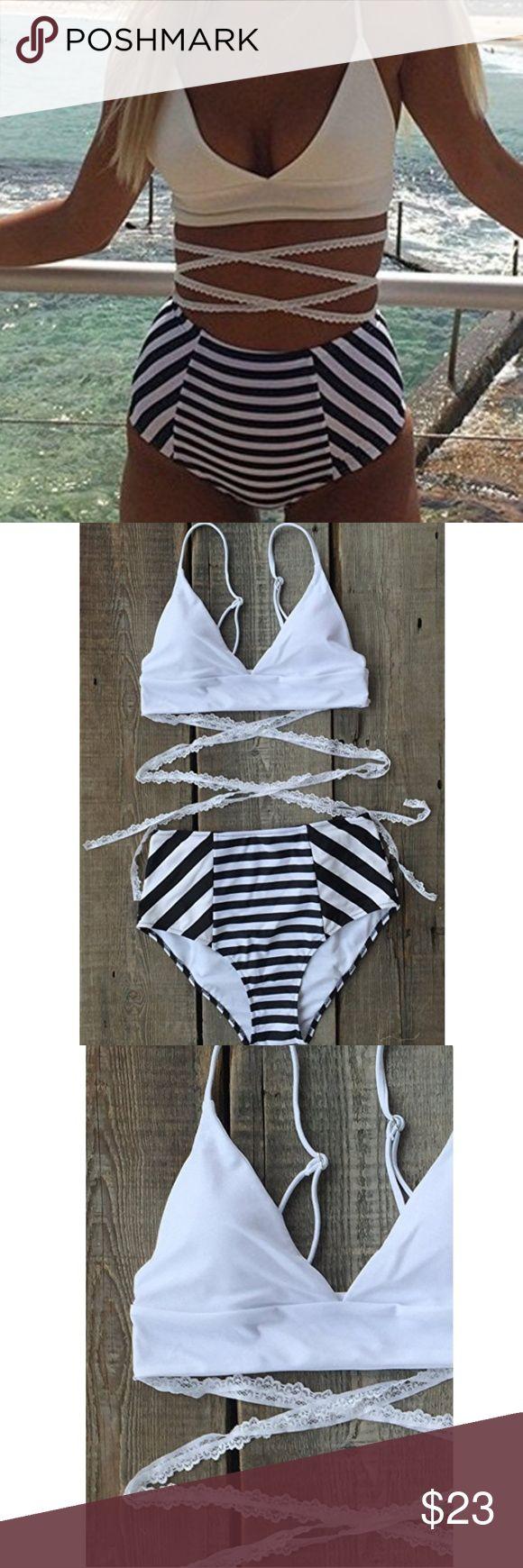 2 piece Bikini White top with Lace ties, black and white striped high waisted bottoms Swim Bikinis
