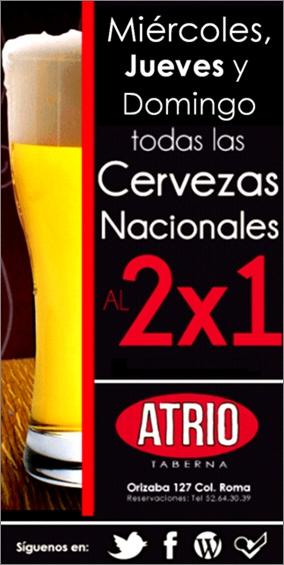 Todos los Miércoles, Jueves y Domingos tenemos las cervezas nacionales al 2x1. Yeeeehhaaa!! =)