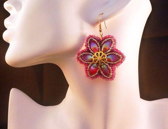 Handmade beads embroidery earrings   by IzabelaCichocka on Etsy