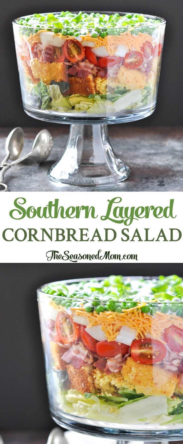 Southern Layered Cornbread Salad | Salad Recipes | Salads | Potluck Recipes | Potluck Dishes | Potluck Ideas | Side Dishes | Picnic Food | Picnic Ideas | Dinner | Dinner Ideas | Easy Dinner Recipes | Bacon