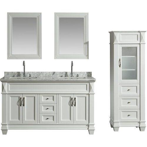 Design Element 60 Inch Hudson Double Sink Vanity Set with ...