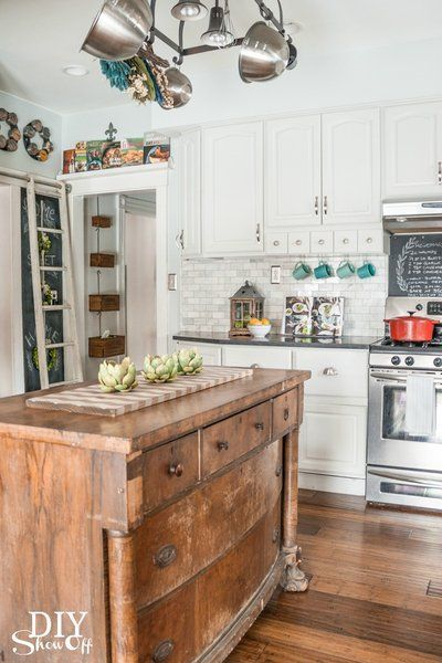 love all of these unique kitchen island ideas including this antique chest of drawers  this would be beautiful with white farmhouse cabinets sleek lg black     85 best cabinets images on pinterest   kitchen cabinets armoire      rh   pinterest com