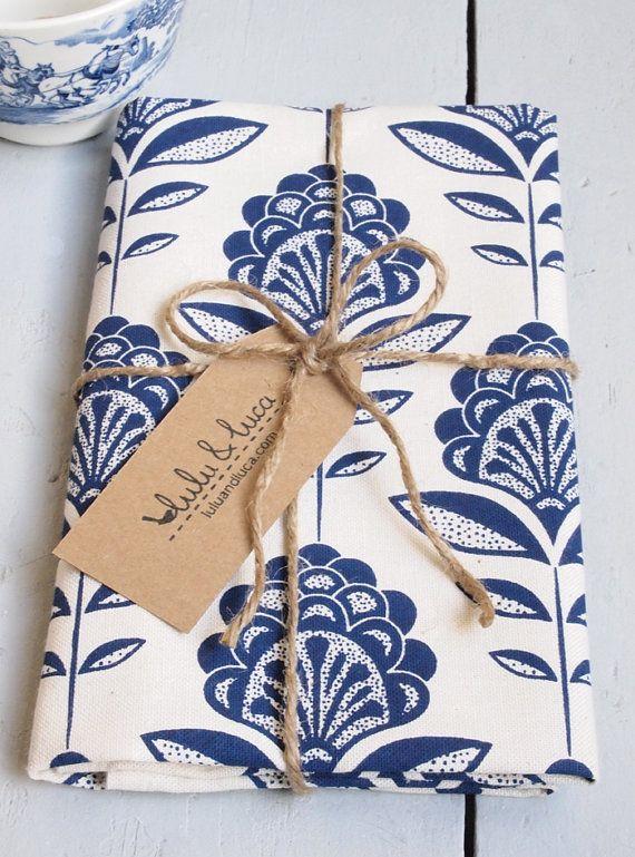 Floral print tea towel by luluandluca on Etsy, $14.50