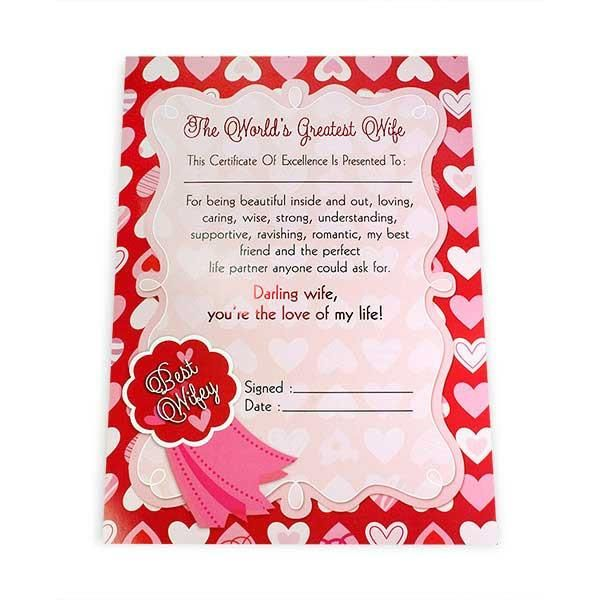Greatest Wife Certificate The world's greatest wife this certificate of excellence is presented to: For being beautiful inside and out,loving,caring wise,strong understanding,supportive,ravishing,romantic ,my best life partner anyone could ask for.Darling wife,You're the love of my life! Best Wifey... Size : 13 x 9 inch. | Rs. 124 | Shop Now | https://hallmarkcards.co.in/collections/shop-all/products/stationery-gifts-for-wife