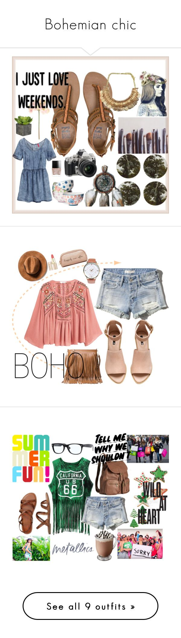 Bohemian chic by camilazeballo on Polyvore featuring moda, Boho & Co, Ella Doran, Billabong, H&M, Nikon, Boho Boutique, Sia, Butter London and MANGO