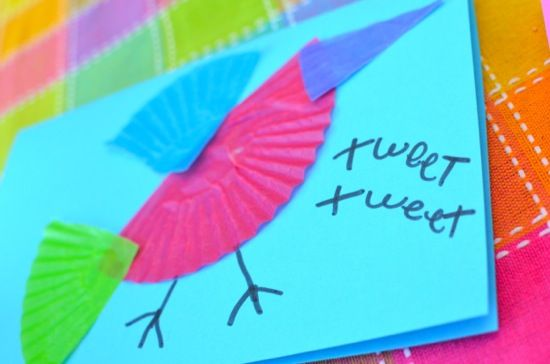 The girls and I had lots of fun crafting up these colorful bird cards to mail to their grandparents! Added bonus — this is ...