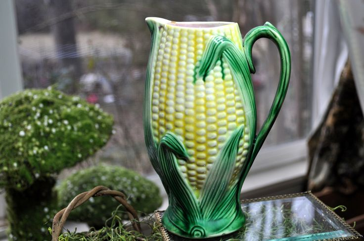 Majolica Pitcher, Chip, Over 100 pc. for sale,  Antique majolica pottery, Corn green yellow pitcher, vintage majolica, 1800's by SouthernSisAntiques on Etsy https://www.etsy.com/listing/172204087/majolica-pitcher-chip-over-100-pc-for