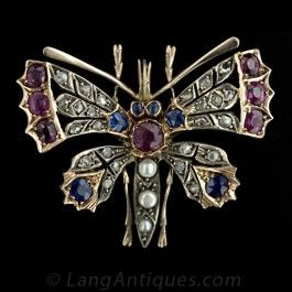 Victorian Butterfly Pin with Diamonds, Sapphires, Rubies, and Pearls - Victorian Jewelry - Vintage Jewelry