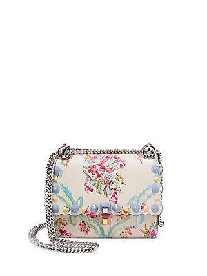8d094d9aca7 Fendi Kan I Mini Studded Floral-Print Leather Chain Shoulder Bag - Ivo    Products