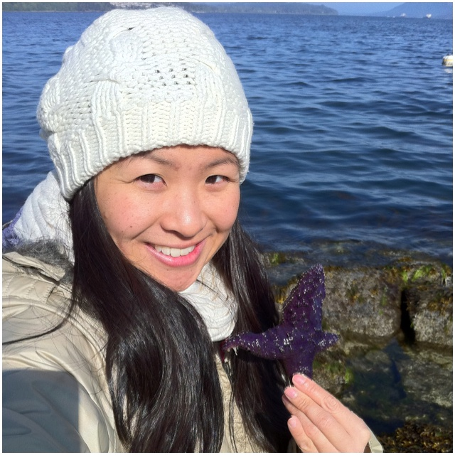 Mee at the beach w/ one of millions of purple starfish on the shore~~