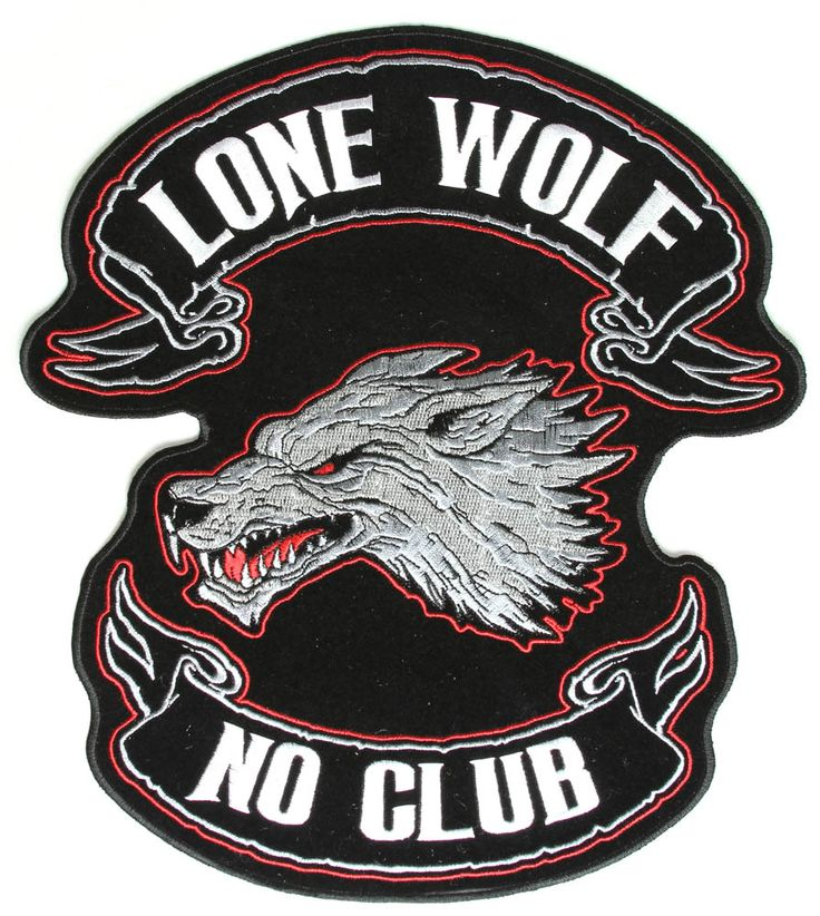 Lone Wolf No Club Patch -Large Back Biker Patch $19.99