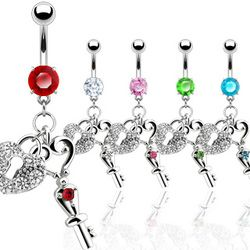 Heart Lock & Key Dangle And CZ Navel Ring.