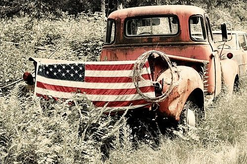 Lisa Ceaser / Americana 1949 GMC Jimmy and American Flag 4x6 matted Print