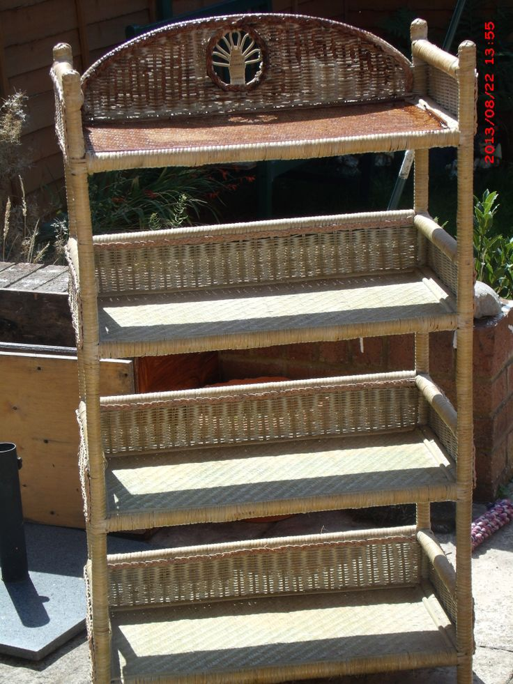 BEFORE- abandoned wicker shelf unit