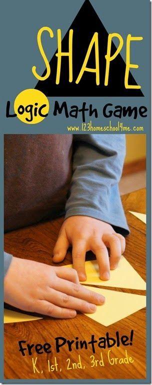 Shape Logic Math Game for Kindergarten, 1st Grade, 2nd Grade, and 3rd Grade Homeschoolers