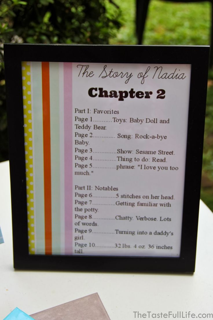 """The Story of Nadia"" Table of Contents for a book themed party!  Taste{Full}: Nadia's ""Chapter 2"" Book Themed Party: Activities."