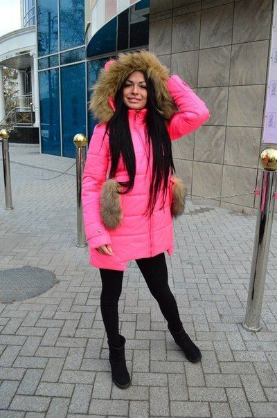 Зимняя куртка пуховик Ушки розовый