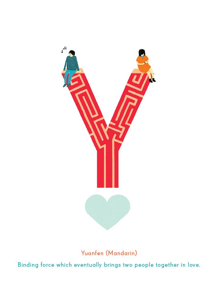 """Y is for """"Yuanfen"""": Mandarin for the binding force which eventually brings two people together in love. #typography"""