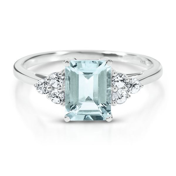Aquamarine & Lab-Created White Sapphire Ring in 10K Gold from Helzberg, $299.99
