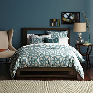 Low Wood Cutout Headboard -- West Elm (this is my headboard) - like the wall colour too