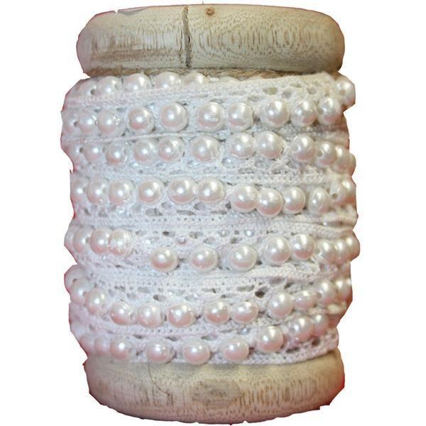 Häkelborte - Spitze mit Perlen auf Holzspule - weiß - Baumwolle - ein Designerstück von jajajojohei bei DaWanda