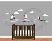 Nautical Theme Sailboat Vinyl Wall Decal - Nursery Wall Decal -. $90.00, via Etsy.