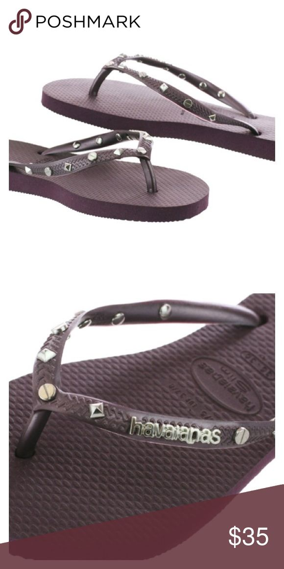 Havaianas Slim Hardware Flip Flop Aubergine flip flops | silver studs on straps | metallic logo | special collection | Euro size 35-36 | US size 5-6 Havaianas Shoes Sandals