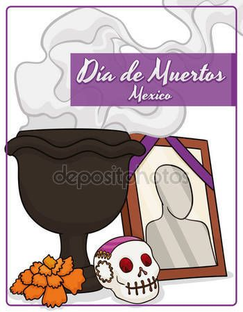 "Traditional Mexican Altar with Offerings to Celebrate ""Dia de Muertos"""