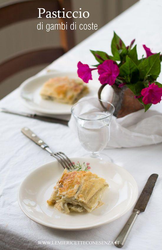 Pasticcio di gambi di coste, ricetta con i gambi delle coste, come utilizzare i gambi delle coste per un primo piatto vegetariano semplice e saporito