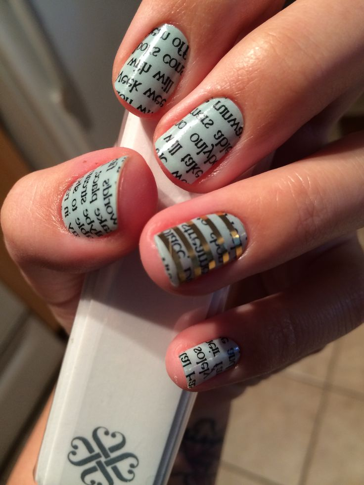 Newspaper on Mint Green - Jamberry Nail Wraps. Get this look using the