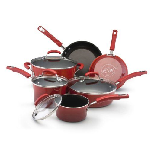 Rachael Ray offer Rachael Ray Porcelain Enamel II Nonstick 10-Piece Cookware Set, Red Gradient. This awesome product currently limited units...