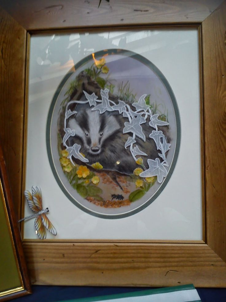 Picture of a badger in parchment and 3d